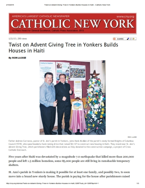 Twist on Advent Giving Tree in Yonkers Builds Houses in Haiti - Catholic New York_001